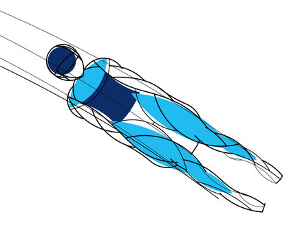 Luge athlete. Stylishly drawn linear athlete. Vector graphics