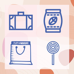 Fototapeta Simple set of shop related lineal icons obraz