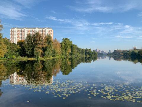 Russia. Pekhorka river in the autumn. Moscow region, city of Balashikha
