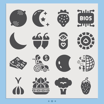 Simple set of slice related filled icons.