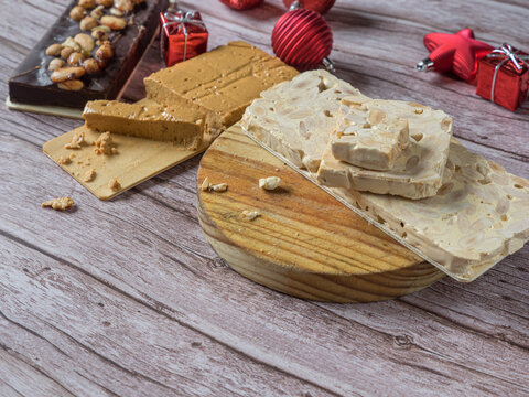 Turron, traditional Christmas dessert. Almond nougat typically made of almond and honey