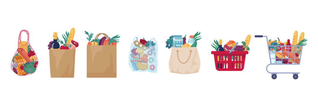 Consumer food basket with bakery, meat and butchery products isolated set. Vector full shopping cart, paper and cloth bag with store groceries, trolley full of food. Dairy cheese, fruits, vegetable