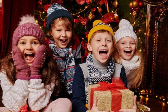 friendly fun company of children