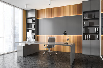 Gray and wooden panoramic CEO office corner