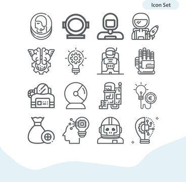 Simple set of entrepreneurs related lineal icons.