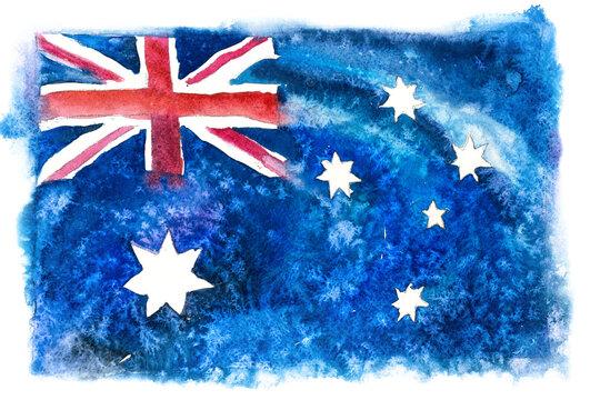 Australia, Australian flag. Hand drawn watercolor illustration.
