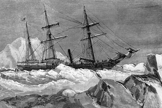 Arctic expedition of the North American ship Jeanette. Stranded and abandoned in the ice by its crew. June 1881. Antique illkustration. 1882.