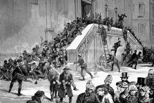Warsaw, the catastrophe of the church of the Holy Cross, when people crowded into a false fire alarm, giving rise to the persecution of the jews in Russia,  Antique illustration. 1882.