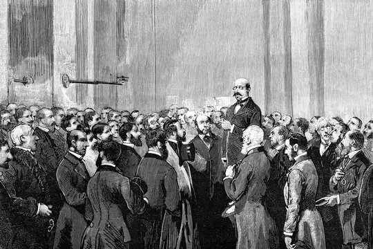 London, the stock exchange to receive the news of the attack and that Queen Victoria was unharmed. Antique illustration. 1882.