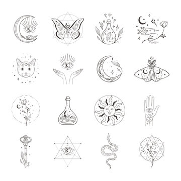 Collection of vector abstract spiritual line drawing logo design templates and elements, frames, detailed decorative illustrations and icons for various ocasions and purposes. Trendy lineart style