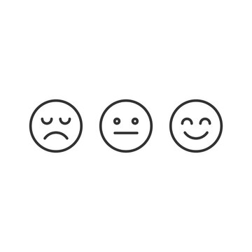 Happy, disappointing and straight emojis icon isolated on white background. Feedback symbol modern, simple, vector, icon for website design, mobile app, ui. Vector Illustration