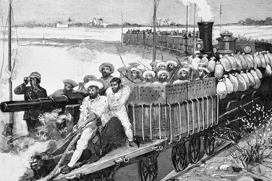Alexandria, Egypt, English line, the armored train used by General Alison in military reconnaissance. Antique illustration. 1882.