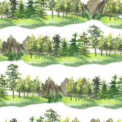 Trees and mountains Pattern