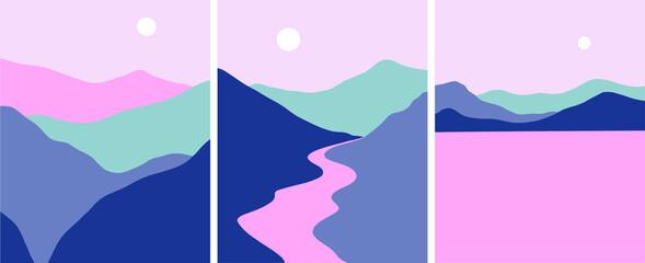 Minimalist landscape mountains river lake vector set