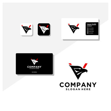 letter v eagle head logo and business card vector