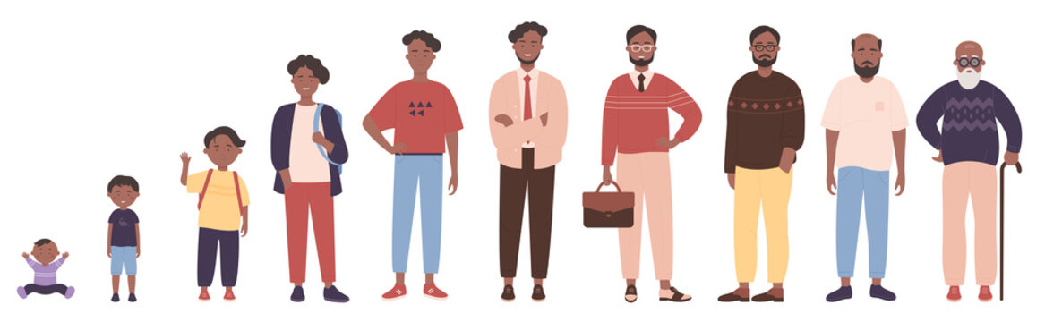 African american black man in different ages vector illustration. Human life stages, childhood, youth, adulthood and senility. Children, young and elderly people flat characters isolated