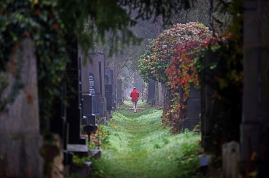 A man walks along a path between tombstones at the old Jewish part of the Zentralfriedhof cemetery on an autumn day ahead of All Saints Day in Vienna