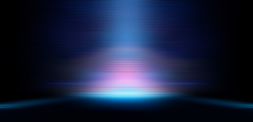 Fotomurales - Modern minimalistic, futuristic studio background. Dark background with lines and spotlights, neon light, night view. Abstract blue background. Empty stage.
