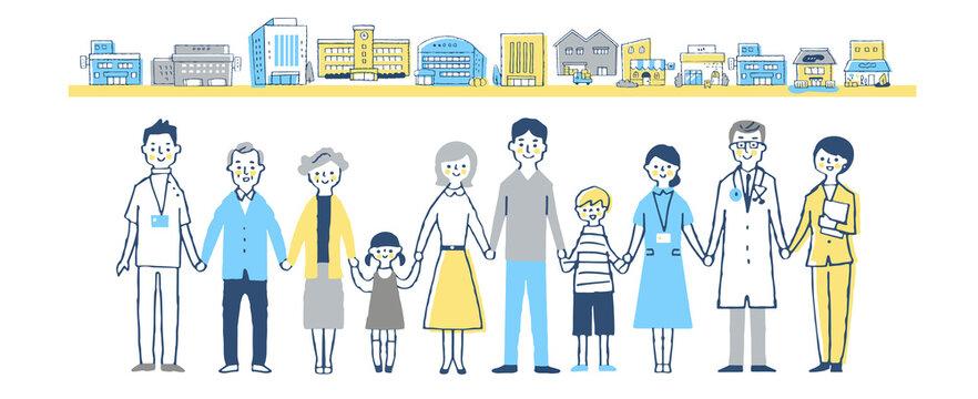 手を繋ぐ家族と医療従事者 街並み