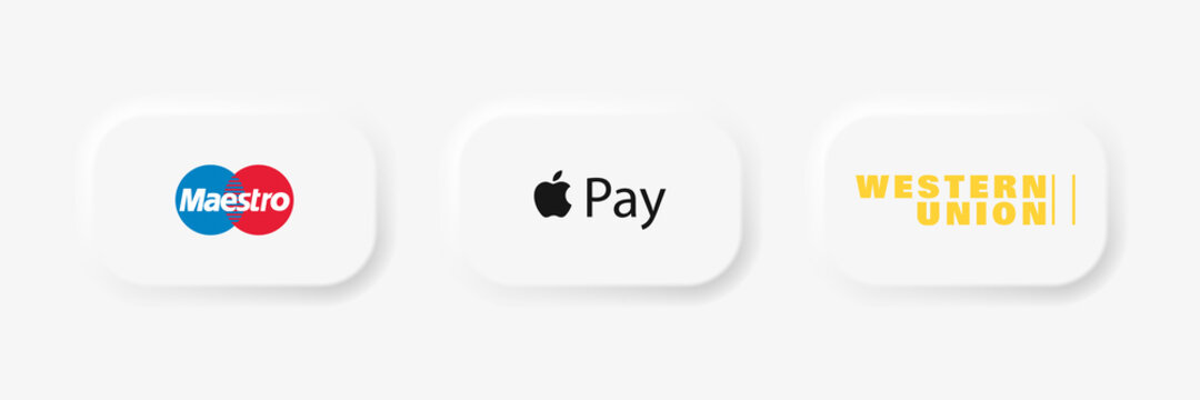 Maestro, Western Union - popular payment systems. App pay icon. Apple Store button. Kyiv, Ukraine - October 24, 2020