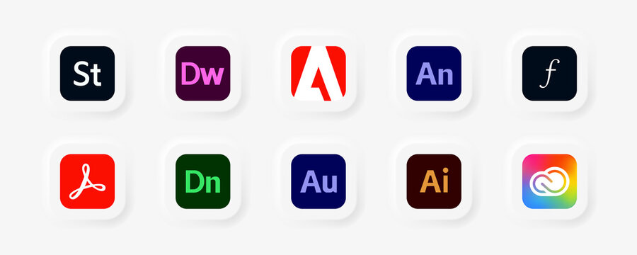Adobe Products: Acrobat, Stock, Dreamweaver, Illustrator, Animate, Fonts, Dimension, Audition, Creative Cloud, Document Cloud. Vector illustration. Kyiv, Ukraine - October 25, 2020