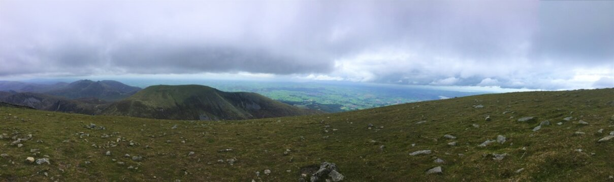 Panorama taken from the peak of Slieve Donard in the Mourne mountains
