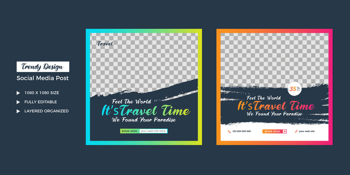 travel agency social media post template. Web banner, flyer or poster for travelling agency business offer promotion. Holiday and tour advertisement banner design.