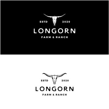 Texas Longhorn logo, Country Western Bull Cattle Vintage Retro Logo Design