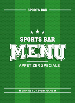 Green sports bar menu. Can be used for soccer and american football style. Retro, grunge, vintage style. Vector illustrator. Template with striped background.