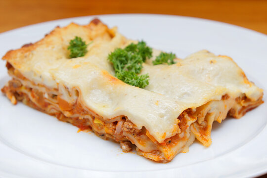 lasagne homemade with bolognese sauce