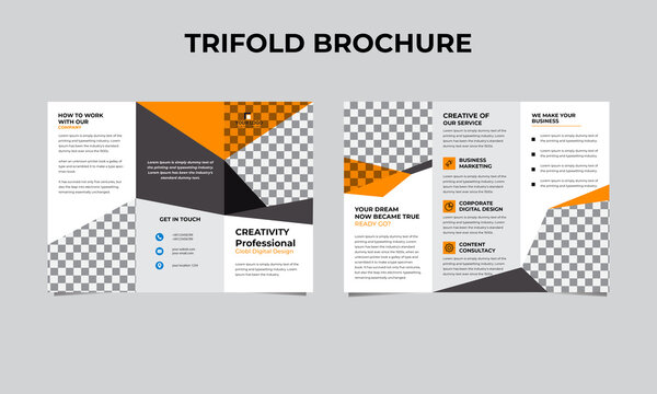 Set of business tri-fold brochure template with turquoise color in a4 size layout. Corporate design