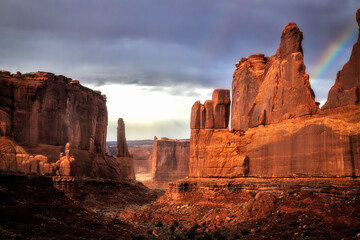 Rainbow over Park Ave in Arches National Park Moab Utah