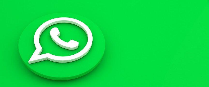 minsk, belarus - 23.10.2020. whatsapp logo printed on green.