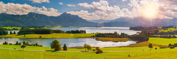 beautiful panoramic landscape in Bavaria, Germany