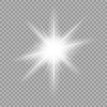 White glowing light burst explosion with transparent. Vector illustration for cool effect decoration with ray sparkles.Vector illustration.