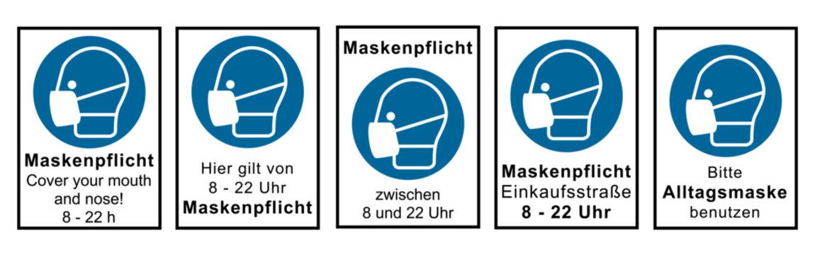 Set aus Hinweisschildern nach DIN EN ISO 7010 rund um die Maskenpflicht. Vektordatei