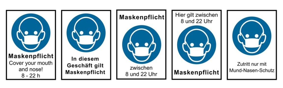 Sammlung von Hinweisschildern rund um die Maskenpflicht. Vektordatei
