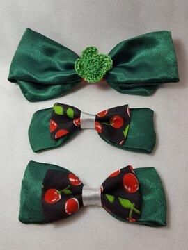 Christmas themed green satin fabric hairbows
