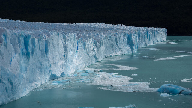 Horizontal view of the surface of the Perito Moreno Glacier in Southern Argentina in Patagonia, hike on the glacier