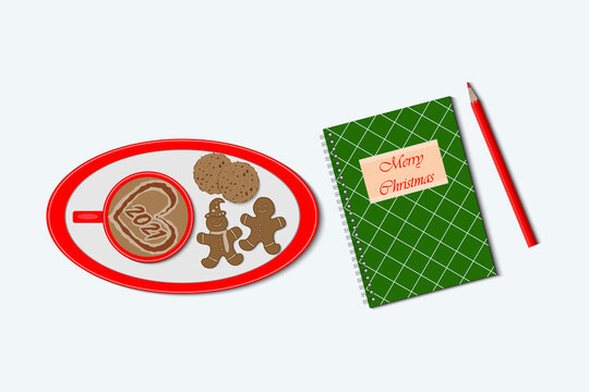 Vector illustration of template cup of coffee with ginger cookies and notebook for christmas decoration. Christmas and New year concept