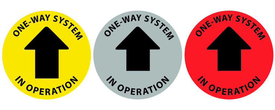 Social distancing concept for preventing coronavirus covid-19 with arrow and wording one way system in operation on circle. warning or caution sign.