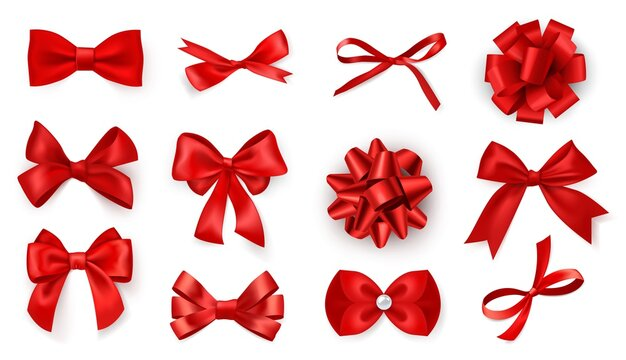 Realistic bow set. Red silk ribbons with bows festive decor satin rose, luxury elements for holiday packaging and design, elegant gift tape 3d vector decor set on white background
