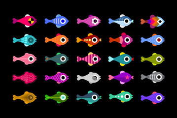 Colored icons isolated on a black background Fish vector design elements. Each of icon placed on a separate layer.