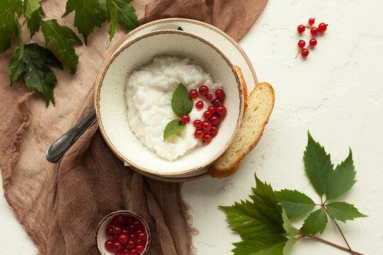 milk rice porridge for breakfast, traditional Slavic and Russian cuisine
