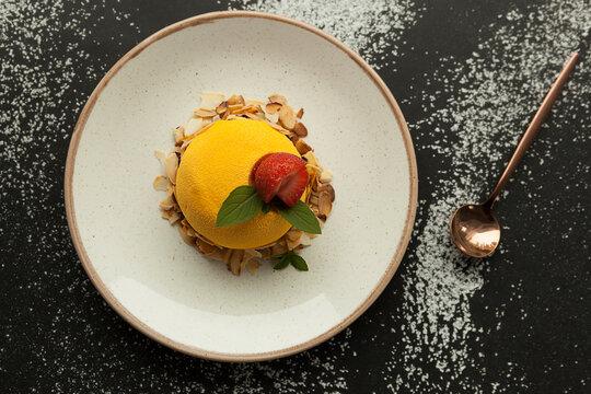 mousse yellow dessert, gourmet cake