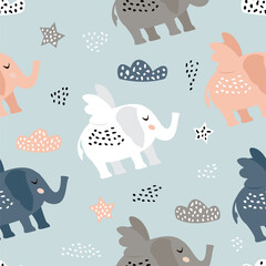 Childish seamless pattern with cute elephant . Creative texture for fabric and textile