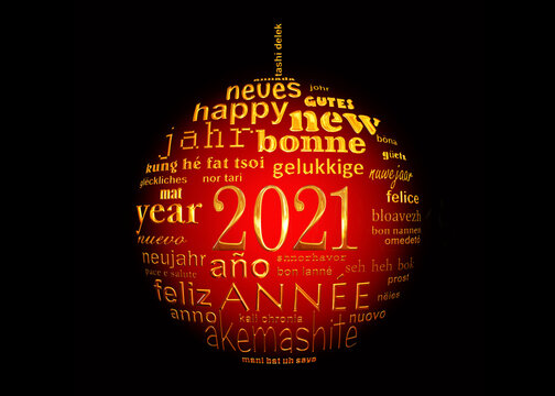 2021 new year , red black and gold multilingual text word cloud greeting card in the shape of a christmas ball