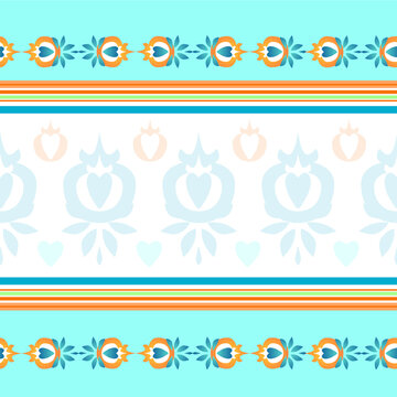 Tablecloth in vector. Seamless pattern for towels, bed linen and tablecloths. The color is blue, beige and blue. Interesting colored ornament.