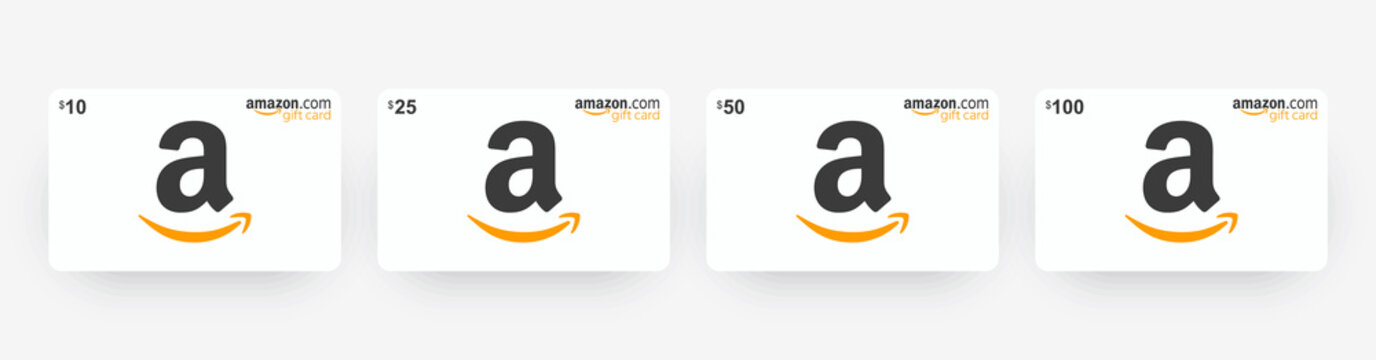 Gift card Amazon 10$, 25$, 50$, 100$. White Amazon gift card with shadow isolated on light background. Vector illustration EPS10