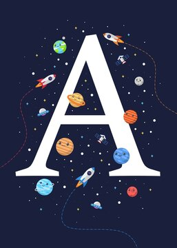 The letter A with the theme of outer space for Children. Letter graphic vector illustration for kids on outer space theme. space kids, letters for children.